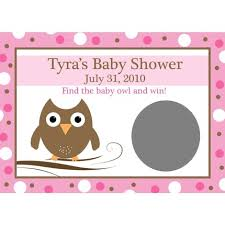 baby shower scratch 24 personalized baby shower scratch cards baby owl