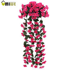 fake flowers for home decor leafy violet artificial silk flowers vine rattan for wedding home