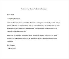 Resume Thank You Letter Sample by 8 Post Interview Thank You Notes U2013 Free Sample Example Format