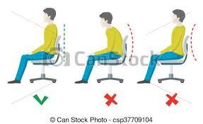 bureau m al plat droit bureau séance dos posture mal vecteur clipart