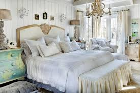 White Shabby Chic Bedroom by French Shabby Chic Gray Platform Bed With Built In Bedside Tables