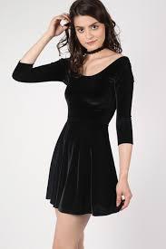 black skater dress black 3 4 sleeve velvet skater dress pilot clothing pilot