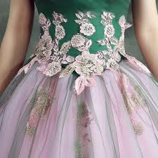 green tulle green top floral lace pink tulle strapless sweet evening party