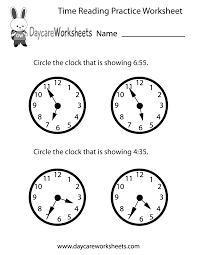 free preschool time reading practice worksheet