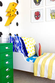 superhero toddler room reveal project nursery colorful and graphic big boy room modern superhero toddler room