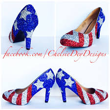 Blue White Red White Blue Flag American Flag High Heels Glitter Red White And Blue Miss America