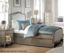 Antique White Youth Bedroom Furniture Kensington Silver Finish Katherine Twin Size Upholstered Bed 30020