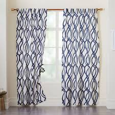 Blue Window Curtains Cotton Canvas Scribble Lattice Curtains Set Of 2 Midnight Blue