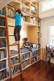 stunning kids home library design with ladder and open bookshelves