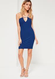 blue dress cobalt blue detail bodycon mini dress missguided