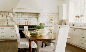 blue tile backsplash green oven and rustic island shabby chic