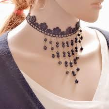 black beaded collar necklace images Wholesale chic black beaded tassel statement chokers necklace jpg