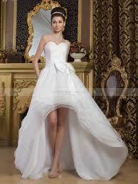 high low wedding dress satin strapless high low wedding dress with bow detail