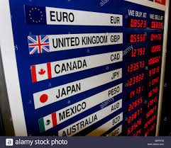 Exchange Rate Money Exchange Rate Sign In Airport Stock Photo 12880820 Alamy