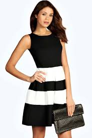 boo hoo clothing kate monochrome skater dress boohoo