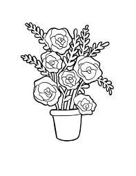 red roses in vase for flower bouquet coloring page color luna