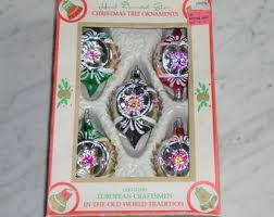 vintage poland santa land glass christmas santa head ornament
