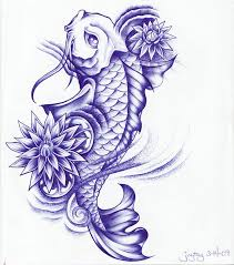 blue ink koi fish with flowers design by joytoy