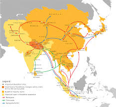 Silk Road Map Map Of Spread Of Buddhism Mary Evans Silk Road Pinterest