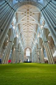 minster cathedral interior covered in grass