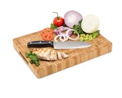 amazon com large end grain bamboo cutting board professional amazon com large end grain bamboo cutting board professional antibacterial butcher block non slip rubber feet by top notch kitchenware kitchen