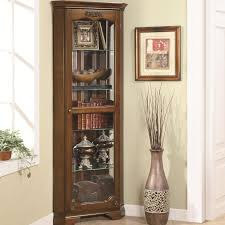 5 shelf corner curio with 1 door u0026 acanthus leaf top by coaster
