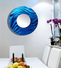 blue large round abstract metal mirror wall art home decor accent