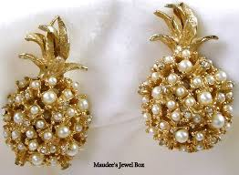 clip on earrings s caviness vintage pineapple simulated pearls clip earrings
