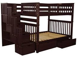 Bunk Beds Full Over Full Stairway Cappuccino  Drawers - Full over full bunk bed