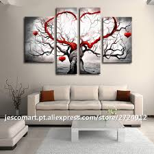 Art For Living Room by Online Shop Painting Wall Art 4pieces Heart Tree Artwork For