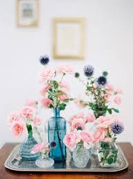 Home Flower Decoration Floral Home Decoration Mixed Blue Vases With Pink Roses And Blue