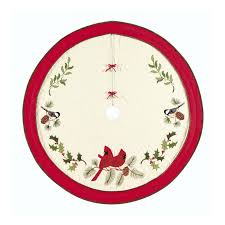 holiday song birds red cardinals christmas tree skirt 54