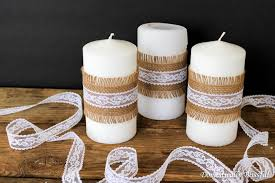 simple burlap and lace candles