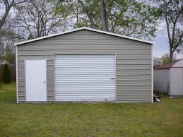 Nice Simple Design Of The Metal Rv Garages That Has Grey Color Can