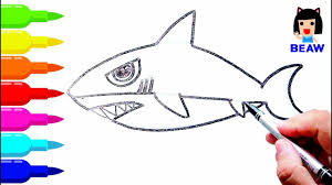 how to draw shark cartoon cute coloring pages for kids サメの