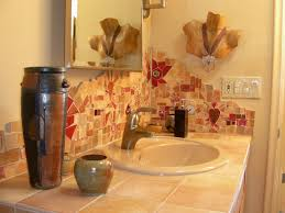 bathroom tile backsplash ideas double vanity bathroom with sink also multi drawers and brown
