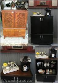 Repurposed Secretary Desk Portable Coffee Bar
