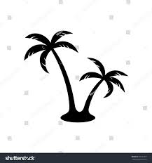 palm trees silhouette simple black two stock vector 531222379