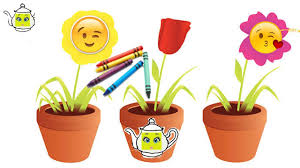 how to draw color paint flower pot coloring page for kids learn