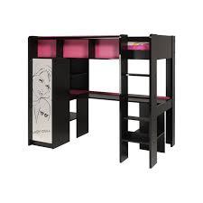 lit mezzanine noir avec bureau lit mezzanine noir 1 place maison design hosnya com