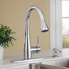 olvera 1 handle high arc pull down kitchen faucet with soap