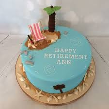 beach theme retirement cake