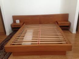 Wooden Platform Bed Frame Plans by Mid Century Wood Queen Platform Bed Frame With Side Tables
