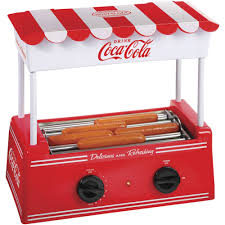 nostalgia hdr565coke coca cola dog roller with bun warmer