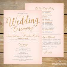 gold wedding programs blush pink and gold wedding program fan printable wedding