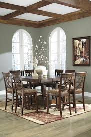 dining room counter extension table with bordered veneer top by