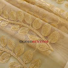Sheer Gold Curtains High End Embroidered Leaf And Printed Stripe Pattern Gold Sheer