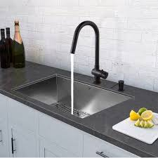 black faucet with stainless steel sink vigo all in one 32 inch stainless steel undermount kitchen sink and