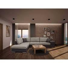 canape d angle droit canapé d angle droit en tissu marron et beige avec 4 grands coussins