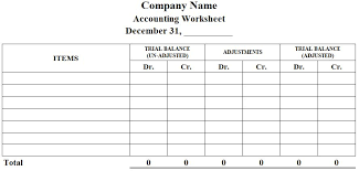 Accounting Worksheet Template Excel Accounting Worksheet Format Preparation Exle